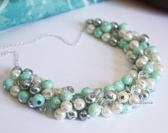 Mint Green and Gray Pearl Cluster Necklace Mint Green Necklace Green and Gray Necklace Pearl Jewelry Bridal Gifts Wedding Necklace