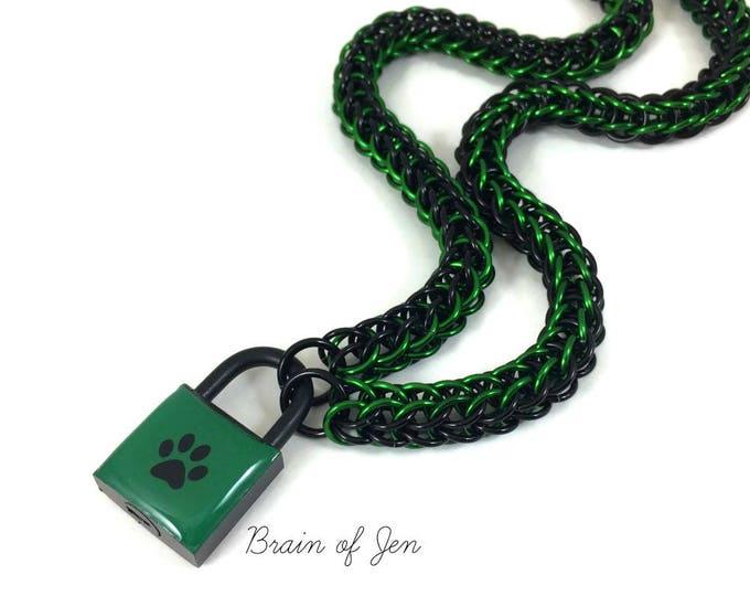 Unisex BDSM Slave Collar Green and Black Paw Print Locking Chainmail Choker Pup Kitten Sub