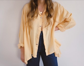 Vintage Linen Blouse // Yellow Button Down Top Oversized Flowy