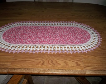 Crocheted Valentines Day Table Runner Pink Hearts