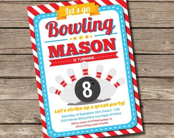 Bowling BIRTHDAY Printable 5 x 7 inch Invitation, INSTANT DOWNLOAD, You Edit Yourself with Adobe Reader