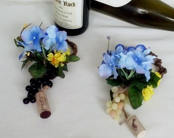 Blue Bridal baby Shower Decor Wine Bottle Toppers set of 4 centerpieces Floral wedding favor grapevine corks grapes accessories spring