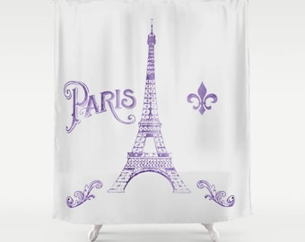 Paris France Shower Curtain -  Purple watercolor Eiffel Tower, Chic, french, her bathroom - home decor