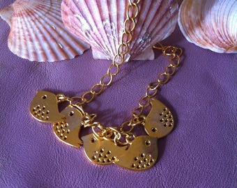 Bracelet 5 birds gold metal