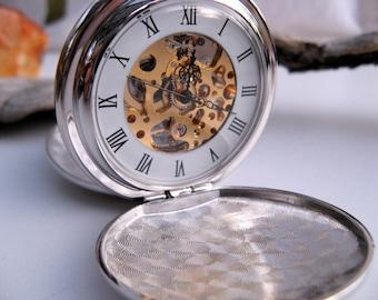 Elegant Silver & Gold Pocket Watch, Pocket Watch Chain, Engravable Pocket Watch, Personalized Gift, Groomsmen's Gift - Item MPW243