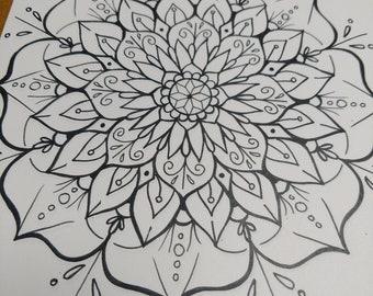 4 Hand drawn Mandala Coloring Sheets