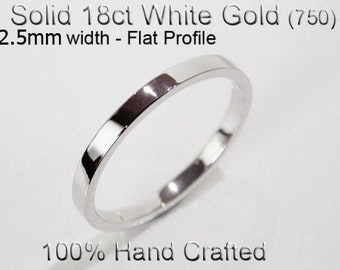 18ct 750 Solid White Gold Ring Wedding Engagement Friendship Friend Flat Band 2.5mm