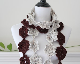 Crochet Brown Oatmeal color Scarf