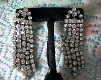 Rhinestone Waterfall Earrings, dangle, clear stones, NOS, pierced ears, post style, dramatic, surgical steel posts, gift for her, gift