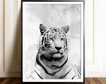 Tiger print, Black and white photography, PRINTABLE art, Safari nursery, Safari print, Tiger art, Tiger photography print, Minimalist print