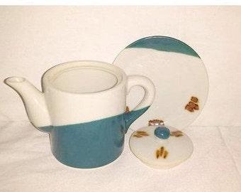 Vintage Blue & Brown Pottery,Stoneware Teapot,Blue,Rust,Teapot and Underplate,Pottery,Stoneware, Southwestern Teapot, Rustic, Primative