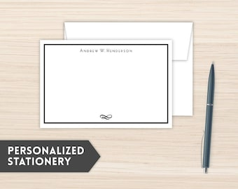 Personalized Stationery | Men's Stationery | Custom Stationery Cards | Custom Personal Note Cards | Personal Notecards  | Simple Stripe