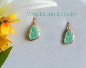 Seafoam Teardrop Statement Earrings - Seafoam Mint Green Jewelry - Druzy Stone Statement Earrings