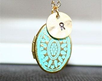 Personalized Locket  Necklace, Gold Patina Locket, Custom Initial Necklace, Blue Locket, Monogram Locket Necklace, Initial Locket Necklace