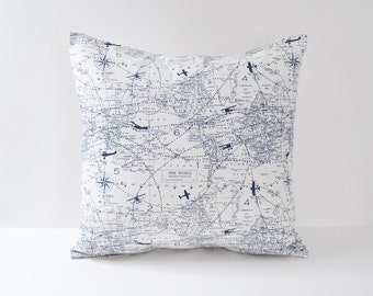Blue Pillow Cover Airplane Pillow Aviation Pillow Chart Pillow 8 Sizes Available Cushion Covers map pillow