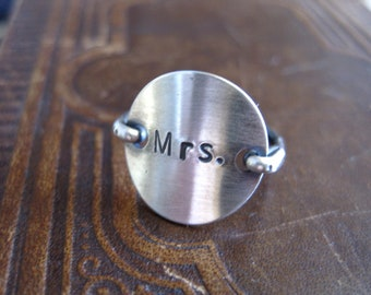 Mrs.wedding love  sterling silver stamped ring