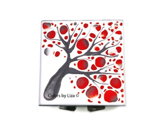 Square Pill Box with 4 Compartments Hand Painted Enamel Red Grey and White Blossom Inspired Custom Colors and Personalized Options