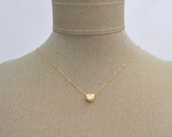 Floating Heart CZ Cubic Zirconia Pendant Charm Necklace - Dainty Simple Layering Gold Filled - Mother's Day Valentine's Anniversary Gift