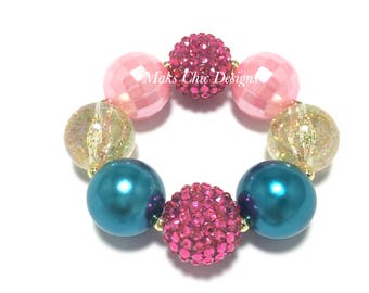 Toddler or Girls Pink, Teal and Gold Chunky bracelet - Princess Pink chunky bracelet - Unicorn Chunky Bracelet - Girls Pink Mermaid Bracelet