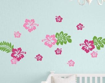 Hibiscus Flowers Wall Decals, Hawaiian Flowers Decals, Wall Stickers, Girls Bedroom Wall Decals, Island Princess Decor