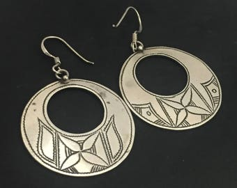 Moroccan Carved Sterling Silver Earrings