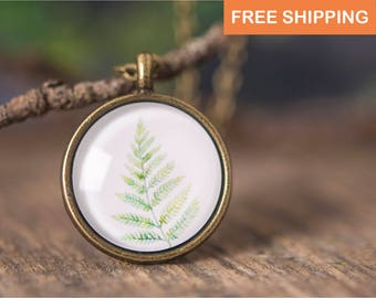 Fern necklace, nature necklace, fern jewelry, herb necklace, nature jewelry, green necklace, herb jewelry, picture necklace