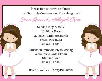 First Communion Invitation - Twin Girls ( Digital File ) / First Communion Invitation for Two Girls / Girls First Communion Invitation