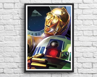 Art-Poster 50 x 70 cm - Star Wars R2D2 and C3PO