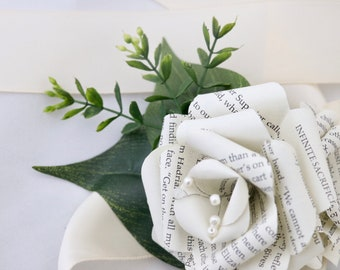 Book Page Wrist Corsage - Mia's Book Page Wrist Corsage - Paper Flowers Customized to Any Color and Book of Your Choice
