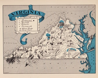 30's Vintage VIRGINIA Picture Map Pictorial State Cartoon Map Print Gallery Wall Art Library Office Decor Map Collector Gift for Traveler