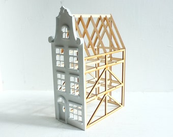 Dutch row house with baroque gable, deconstructed structure - geometric architecture - Belgium, Amsterdam -  miniature house