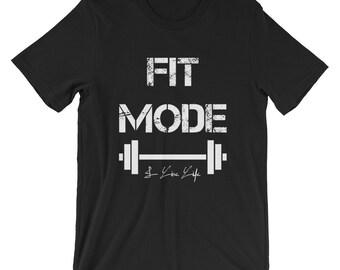 FIT MODE Shirt Gym Shirts I Live Life Cool Vintage T Shirts Fitness Shirts Women Shirts Men Shirts Pro Yogi Gift Short-Sleeve Unisex T-Shirt