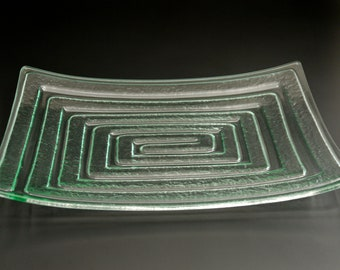 """Serving Platter - Recycled Glass - Labyrinth - Centerpiece - Entertaining-Large 12""""X17"""""""