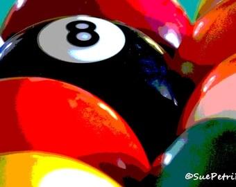 Pool Ball Photograph, Billiards Room Wall Art, 8x10 or any size, Still Life Photography, Pool Ball Prints, Pool Room Art, Billiard Balls