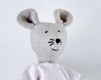 """Hand sewn linen mouse toy, Fabric mouse toy, Stuffed mouse, Natural linen mouse toy - """" Sweet Mice From the River"""" Collection"""