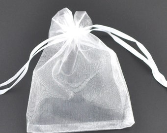 25 Organza bags, white organza bags 9cm x 7cm, party favor bags, jewelry bags, mesh bags, wedding favor bags, SS