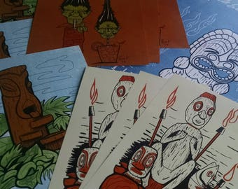 5 PRINT BUNDLE! Limited Edition Tiki Digital Art Print Bundle! Witco, Mai Kai, Pirates and more!