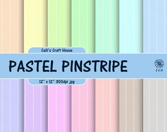 Pastel Pinstripe Digital Papers - Pinstripe background - 14 soft pastel backgrounds with wide pinstripe - Commercial Use - Instant Download