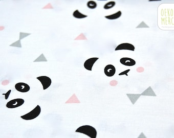 Fabric pandas and triangles - white, black, grey and pink - 100% cotton oeko-tex