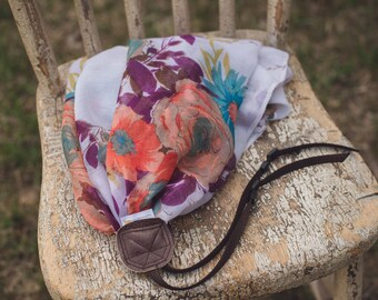 Colorful Floral Scarf Camera Strap