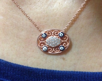 Necklace, Zircon Necklace, Silver Necklace, Sterling Silver Necklace, Gemstone Necklace, Hand made Necklace, Gift for her