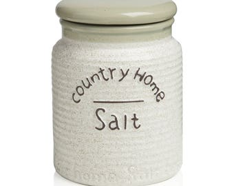Ceramic Salt jar Country Home 10.5 X 10.5 x 14 cm