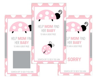 Set of 12 Scratch Off Game Cards for Baby Showers with Ladybugs in Pink and Gray SC121