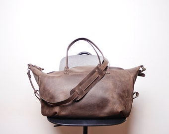 Leather Weekend bag / Overnight bag / Voyager / Brown leather travel bag