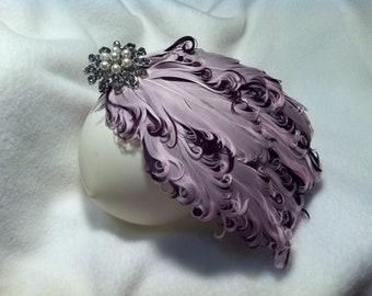 Nagorie Goose Feather Fascinator- Children's Headband Lilac and Dark Purple