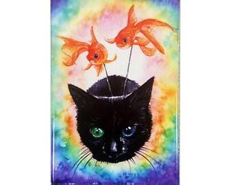 Delirium Kitten Magnet: Watercolour Sandman Black Cat