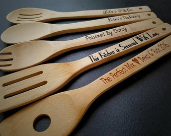 5 - Personalized Kitchen Utensils, Personalized Gift, Mothers Day, Gift for Mom, Gift For Grandma, Engraved Spoon, Mother's Day, Grandmother