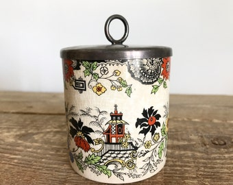 Vintage Lancaster and Sandland Ltd Hanley Staffordshire Chinoiserie Condiment Crock