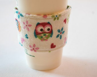 Owl Coffee Cozy, Home and Living Cozy, Kitchen and Dining, Drink and Barware, Drinkware Cozies, Handmade Coffee Sleeve, Spring Celebrations
