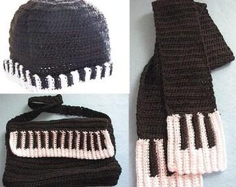 Crochet Pattern - Piano Messenger Bag, Hat & Scarf Pattern - Women's Scarf Pattern -  Tote Pattern - Women's Hat Pattern - Digital Download